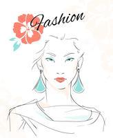 Retrato da moda da mulher sensual vetor