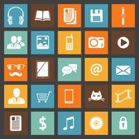 Conjunto de ícones de dispositivos e serviços de mídia plana