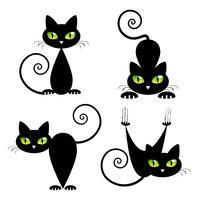Gato preto com olhos verdes vetor