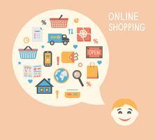 Idéia de inovação de compras on-line