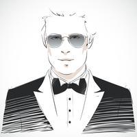 Retrato elegante jovem empresário vetor