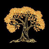 Árvore dourada em preto vetor