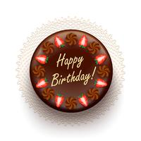 Torta de aniversário de chocolate com morangos vetor