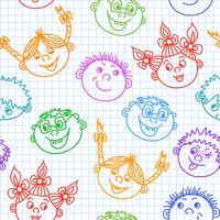 Doodle sem costura sorridente crianças enfrenta padrão vetor