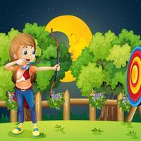 Um, menina, tocando, tiro com arco vetor