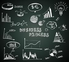Diagramas de negócios Doodle definido no quadro-negro vetor