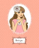 Cartão de dia dos namorados com linda garota vetor