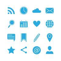 Conjunto de ícones de mídias sociais de silhueta
