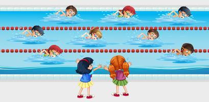 Crianças praticam natação na piscina vetor