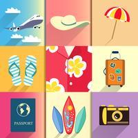 Conjunto de ícones de viagens e férias vetor