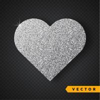 Coração de brilhos de prata