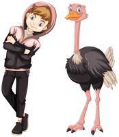 Menino adolescente, com, cute, avestruz vetor
