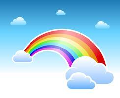 Símbolo abstrato de arco-íris e nuvens vetor