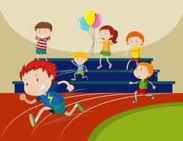 Meninos correndo na corrida vetor