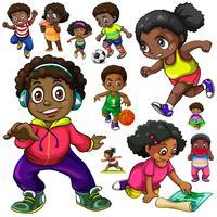 Africano americanos crianças fazendo coisas diferentes vetor