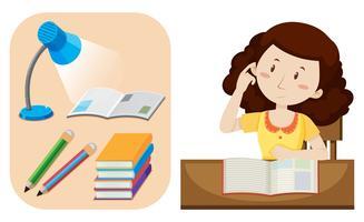 Menina, fazendo, dever casa, tabela vetor