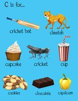 Palavras diferentes para o alfabeto C vetor