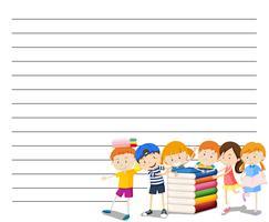 Modelo de papel de linha com crianças lendo plano de fundo do livro