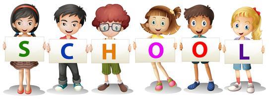 Crianças, formando, a, escola, letras vetor