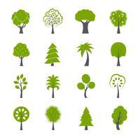 Conjunto de ícones de árvores verdes naturais vetor