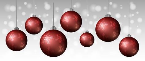 Modelo de plano de fundo com bolas vermelhas de Natal vetor