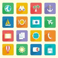 Conjunto de ícones de férias de viagens vetor