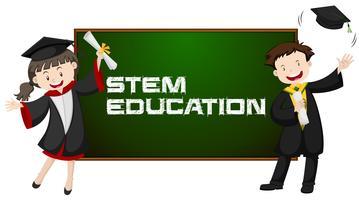 Educação de tronco e dois estudantes graduados vetor