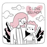 Doodle ilustração sobre o dia das mães vetor