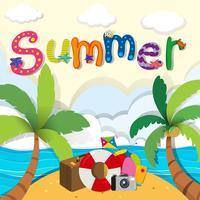 Tema de verão com objetos de praia vetor