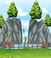 Cena fundo, com, cachoeira, parque vetor