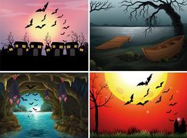Quatro cenas com morcegos à noite vetor
