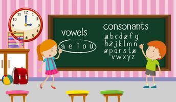 Crianças, estudar, inglês, em, sala aula