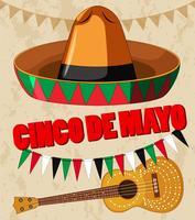 Design de cartaz de cinco de Mayo com guitarra e chapéu vetor