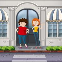 Mulheres gordas e magras na frente da loja