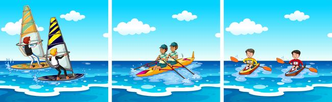 Pessoas que fazem esportes aquáticos no mar
