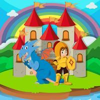 Cavaleiro e dragão no palácio vetor