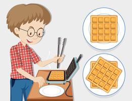 Homem fazendo waffle com máquina de waffle vetor