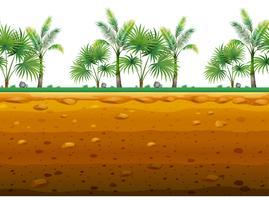 Palm jardim no chão em design sem costura vetor