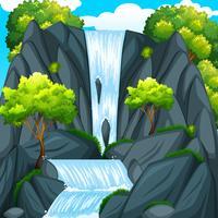 Bela cachoeira e árvores verdes vetor