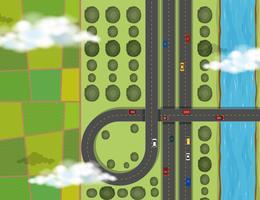 Cena aérea, com, carros, ligado, rodovia vetor