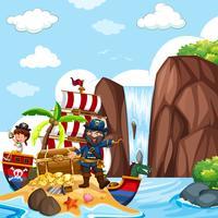 Cena, com, pirata, e, cofre tesouro, por, a, cachoeira vetor