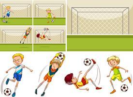 Jogadores de futebol no campo vetor