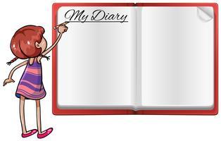 Menina, escrita, em, diário