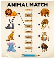 Correspondência de animais com imagens e palavras vetor