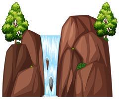 Cachoeira e duas grandes árvores vetor