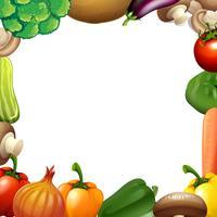 Design de fronteira com legumes mistos vetor