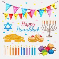 Feliz Hannukkah tema com moedas de ouro e velas vetor