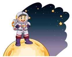 Astronauta em pé na lua vetor