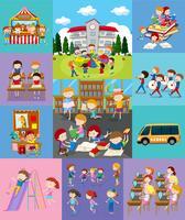 Crianças fazendo atividades diferentes na escola vetor