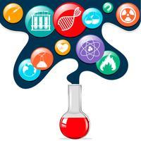 Símbolos de ciência e copo de vidro vetor